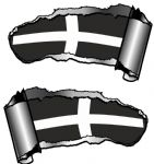 Small Pair Ripped Torn Metal Gash Design & Cornwall Cornish Flag Vinyl Car Sticker 93x50mm each